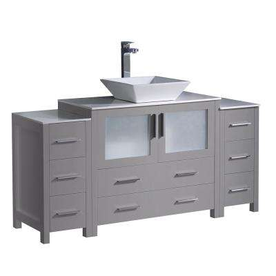 Torino 60 in. Bath Vanity in Gray with Glass Stone Vanity Top in White with White Vessel Sink, Side Cabinets