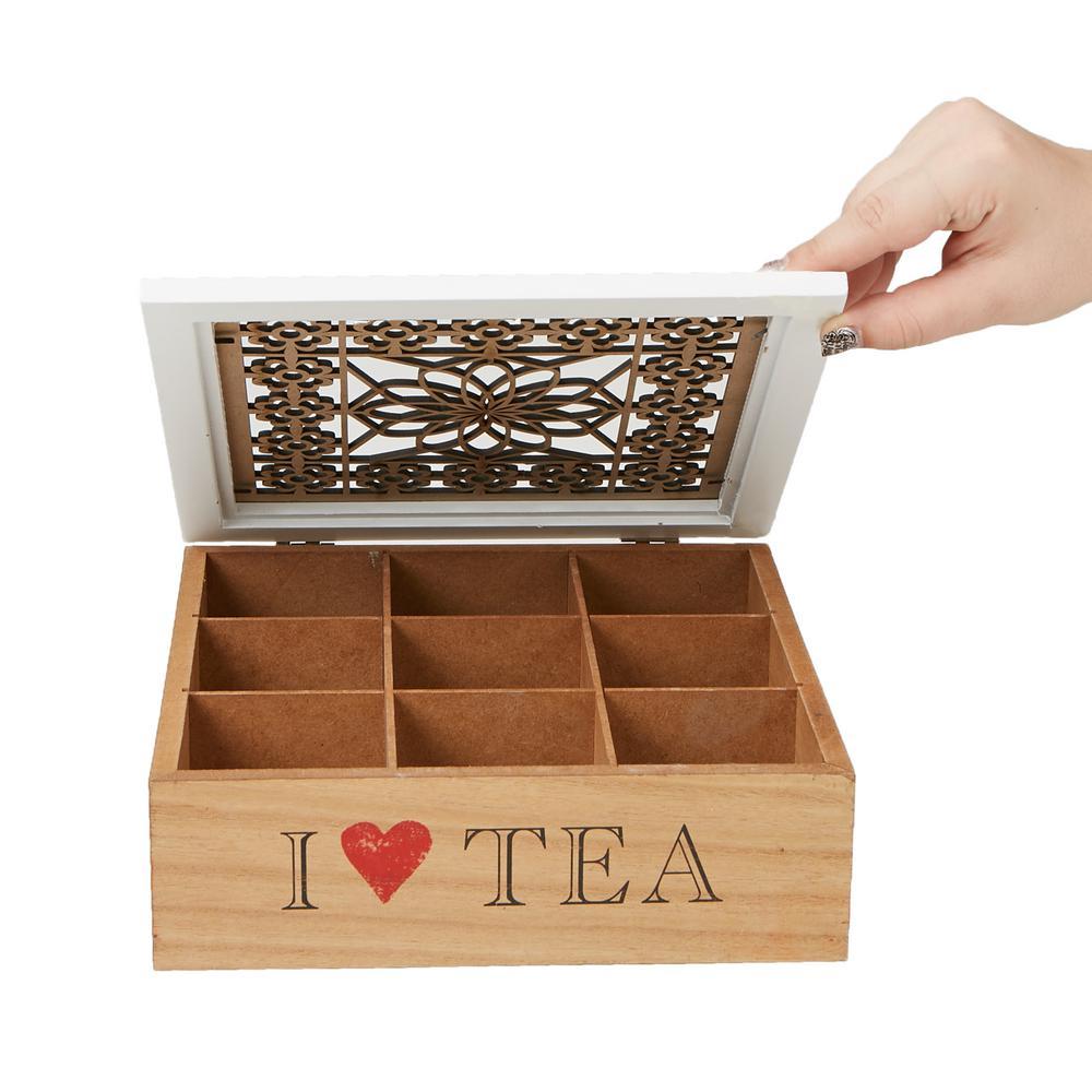 Brown Tea Box Storage Holder with Wood Floral Pattern