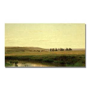 Trademark Fine Art 16 inch x 32 inch A Wagon Train on the Plain Canvas Art by Trademark Fine Art