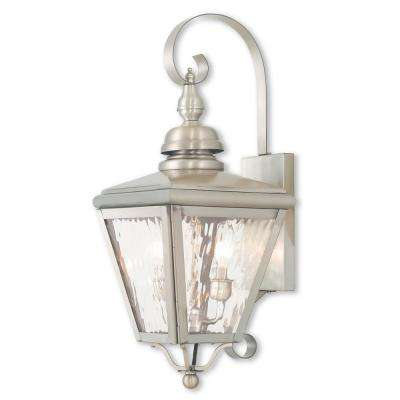 Cambridge 2-Light Brushed Nickel Outdoor Wall Mount Lantern