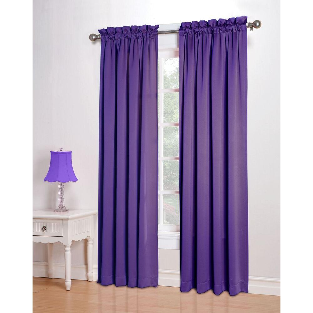 Sun Zero Semi Opaque Purple Gregory Room Darkening Pole