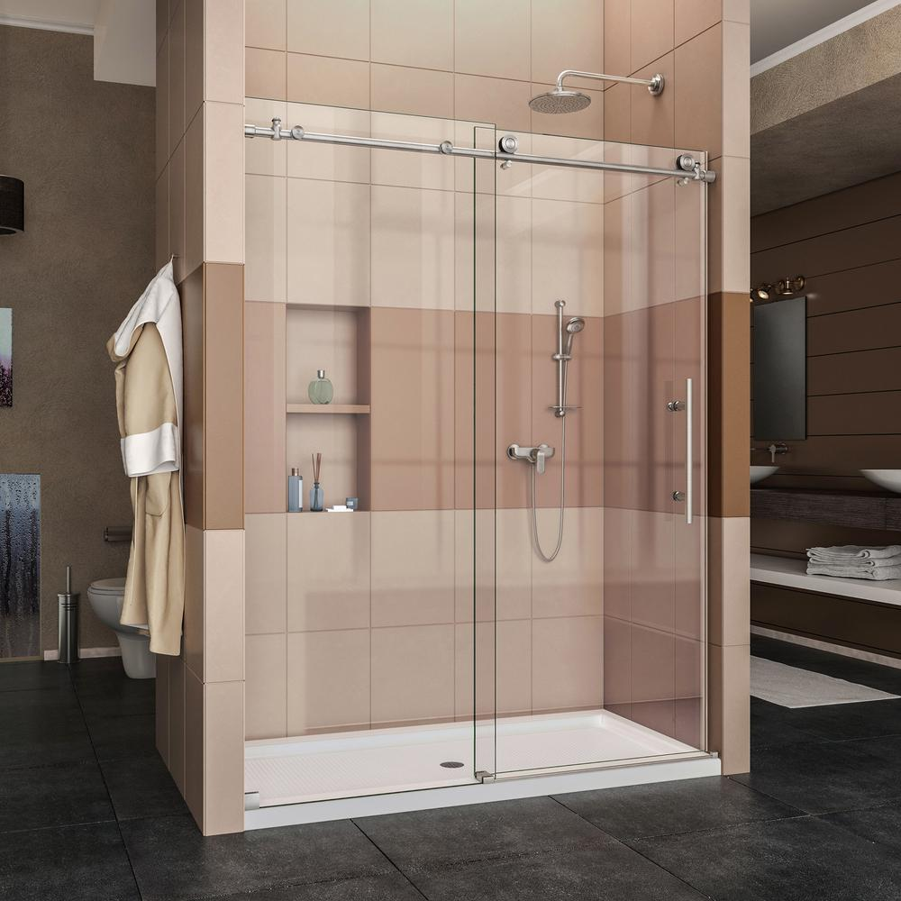 DreamLine Enigma-X 34 in. x 60 in. x 78.75 in. Frameless Sliding Shower Door in Brushed Stainless Steel and Center Drain Base