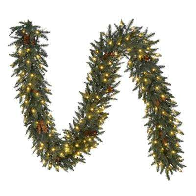 9 ft. Pre-Lit LED Artificial Refined Elegance Spruce Garland, 780 Tips, 300 Warm White Micro-Dot Lights, Pine Cones