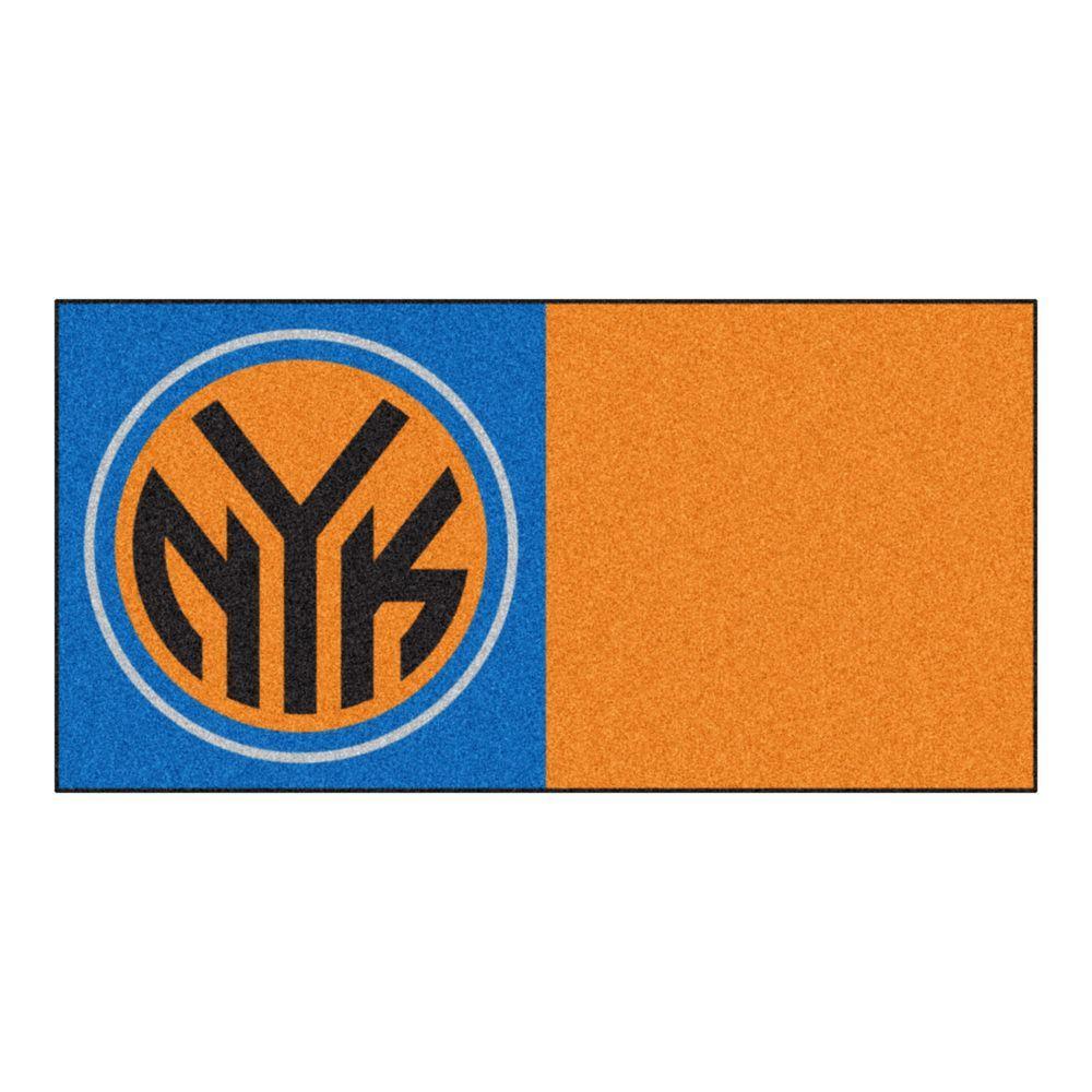 NBA New York Knicks Blue and Orange Pattern 18 in. x 18 in. Carpet Tile (20 Tiles/Case)