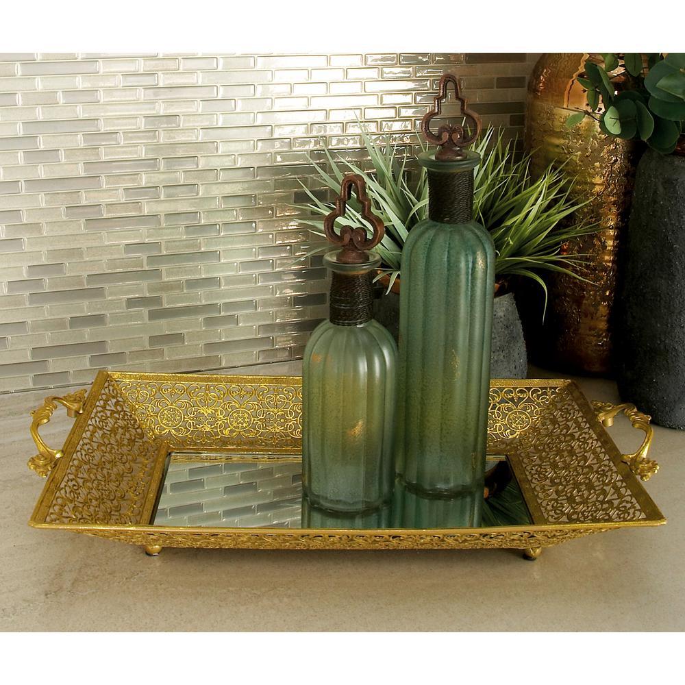 Classic Gold-Finished Decorative Lattice Mirror Trays (Set of 2)