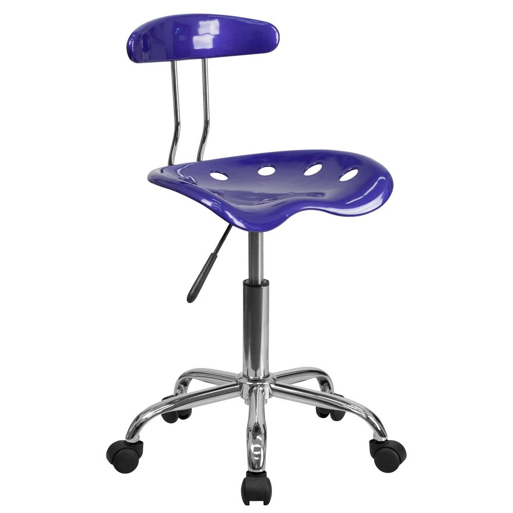 flash furniture vibrant deep blue and chrome task chair with tractor