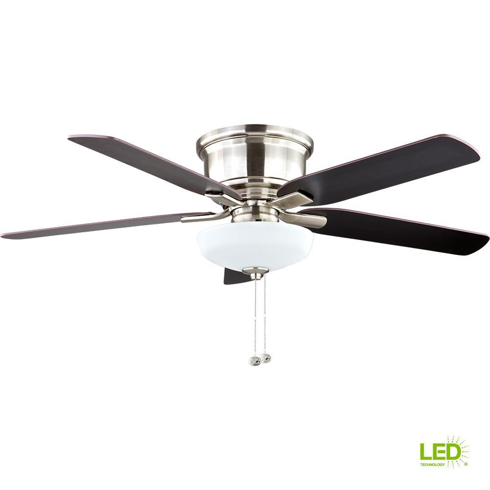 Hampton Bay Holly Springs Low Profile 52 in. LED Indoor Brushed ...