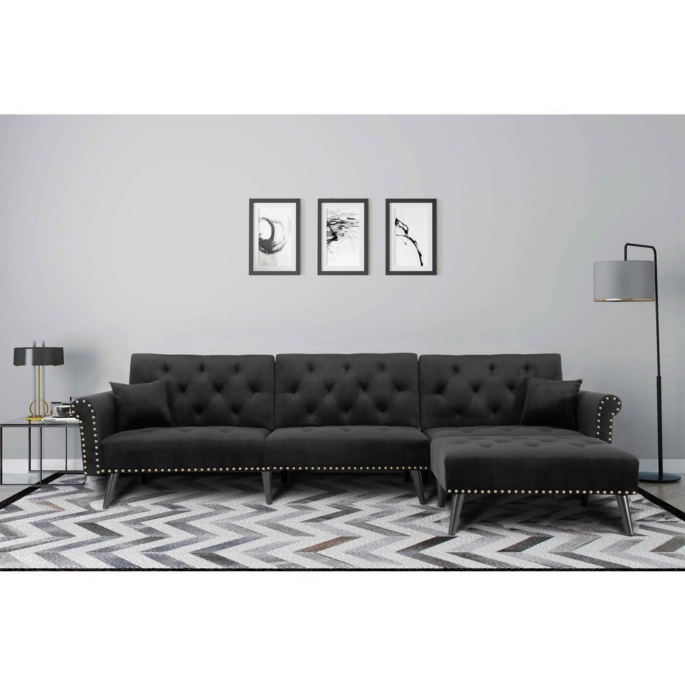 Microfiber - Black - Sectionals - Living Room Furniture ...