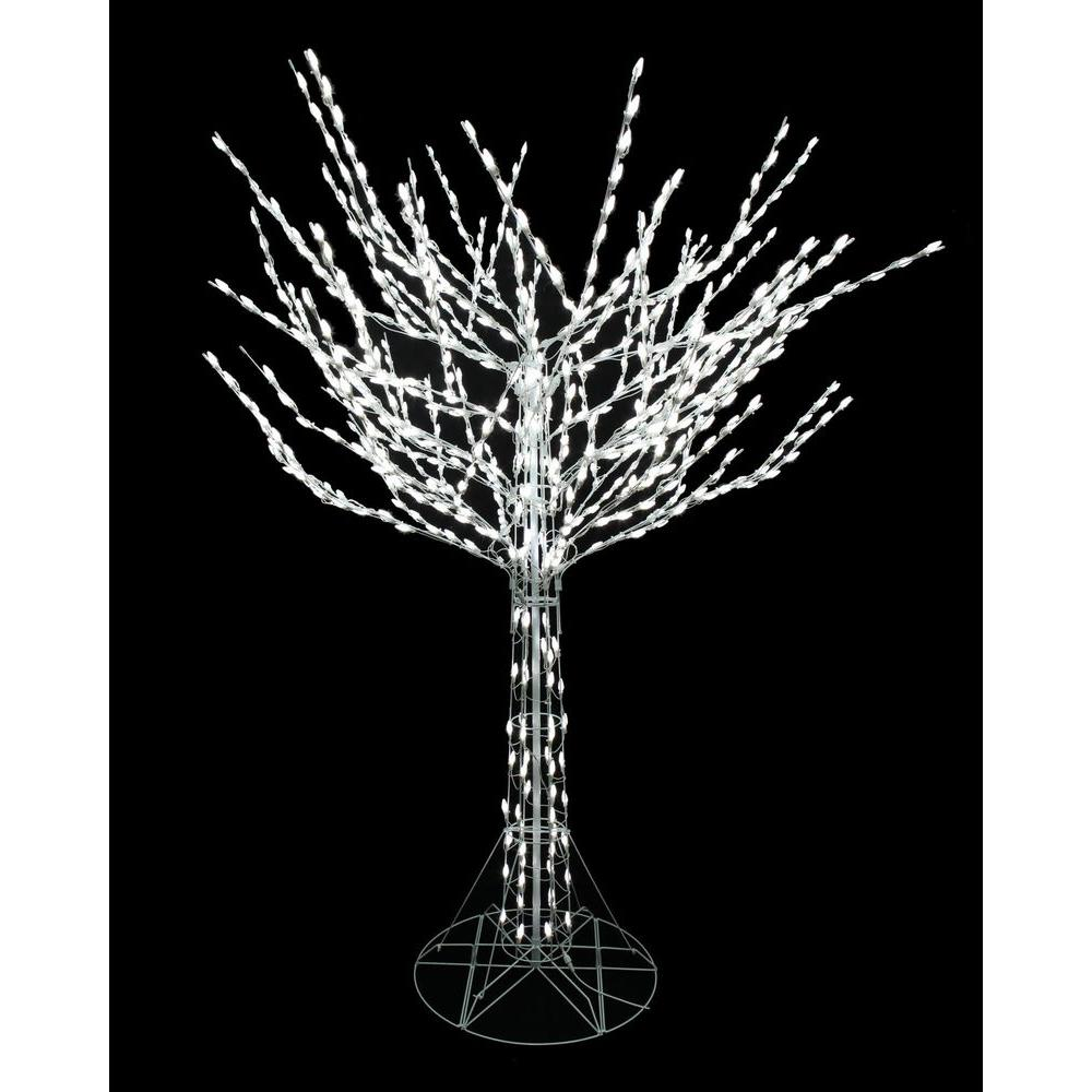 Home Accents Holiday 8 ft. LED Pre-Lit Bare Branch Tree with White ...