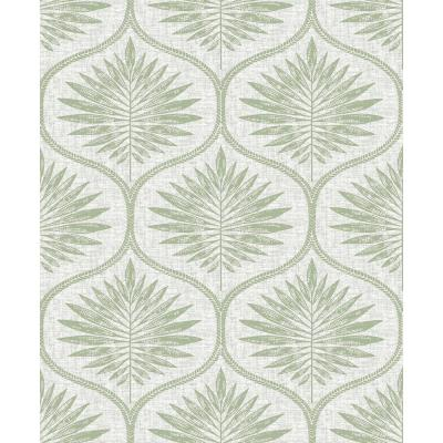 Green Primitive Leaves Peel and Stick Wallpaper Green Vinyl Peelable Roll (Covers 30.75 sq. ft.)