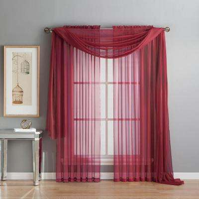 Diamond Sheer Voile 56 In. W X 216 In. L Curtain Scarf In Burgundy