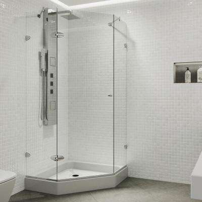 Verona 42 in. x 78.75 in. Frameless Neo-Angle Hinged Corner Shower Enclosure in Chrome with Clear Glass and Base