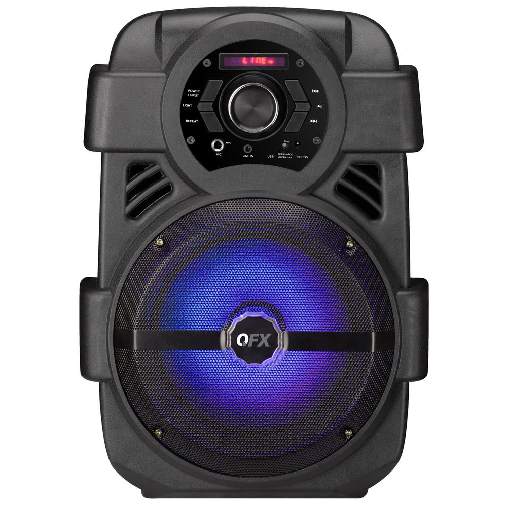 QFX Portable Bluetooth Rechargeable Party Speaker with 8 in. Woofer, FM Radio, USB Port, Aux Input and Party Light