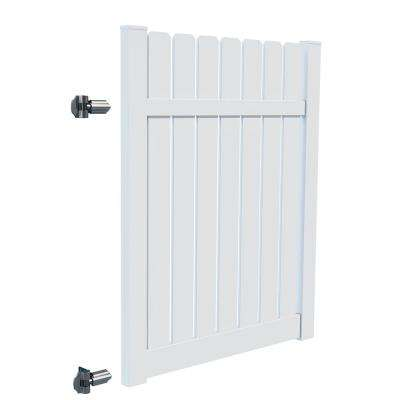 Sacramento 5 ft. x 6 ft. White Vinyl Drive Fence Gate Kit