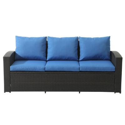 Outdoor Wicker Patio Sofa with Blue Cushions