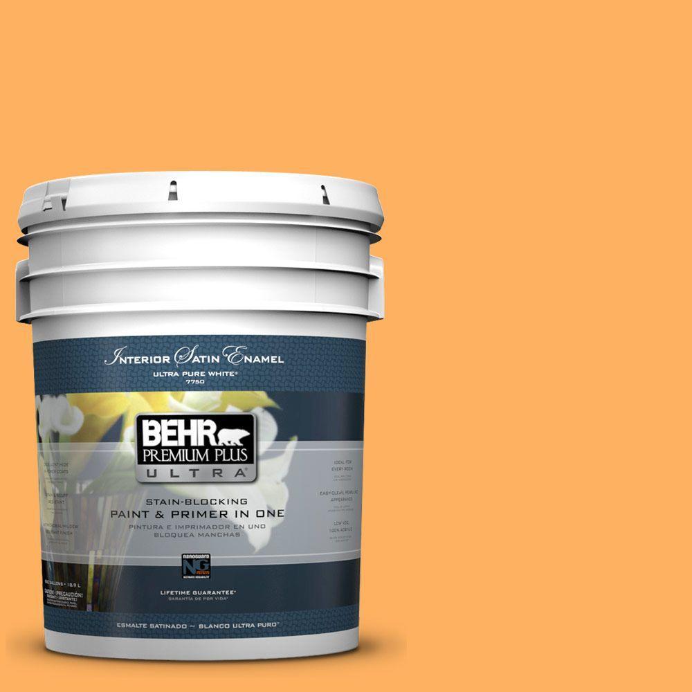 BEHR Premium Plus Ultra 5 gal. #280B-5 Vintage Orange Satin Enamel Interior Paint and Primer in One