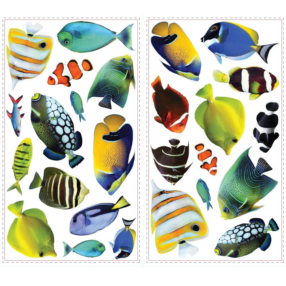 null 10 in. x 18 in. Fish Wall Decals with Lenticular Port Hole 26-Piece Peel and Stick Wall Decals