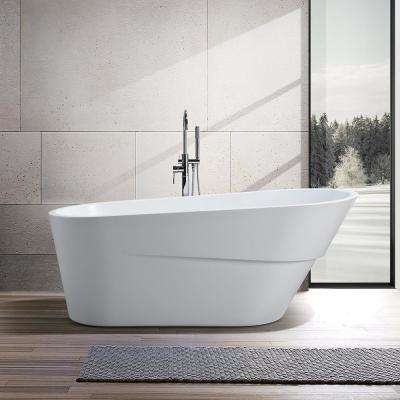 Nanterre 67 in. Acrylic Flatbottom Freestanding Bathtub in White
