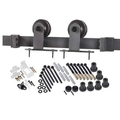 8 ft. Premium Black Interior Modern Country Rustic Wood Barn Door Closet Hardware Track Kit