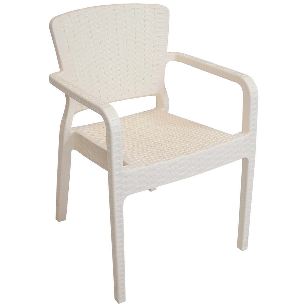 Segonia Cream Stackable Plastic Indoor/Outdoor Arm Chair