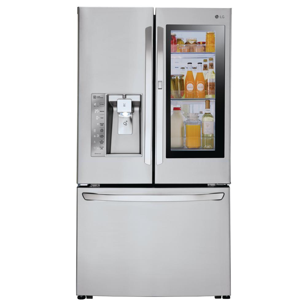 LG Electronics 24 cu. ft. 3-Door French Door Smart Refrigerator with InstaView Door-in-Door in Stainless Steel, Counter Depth