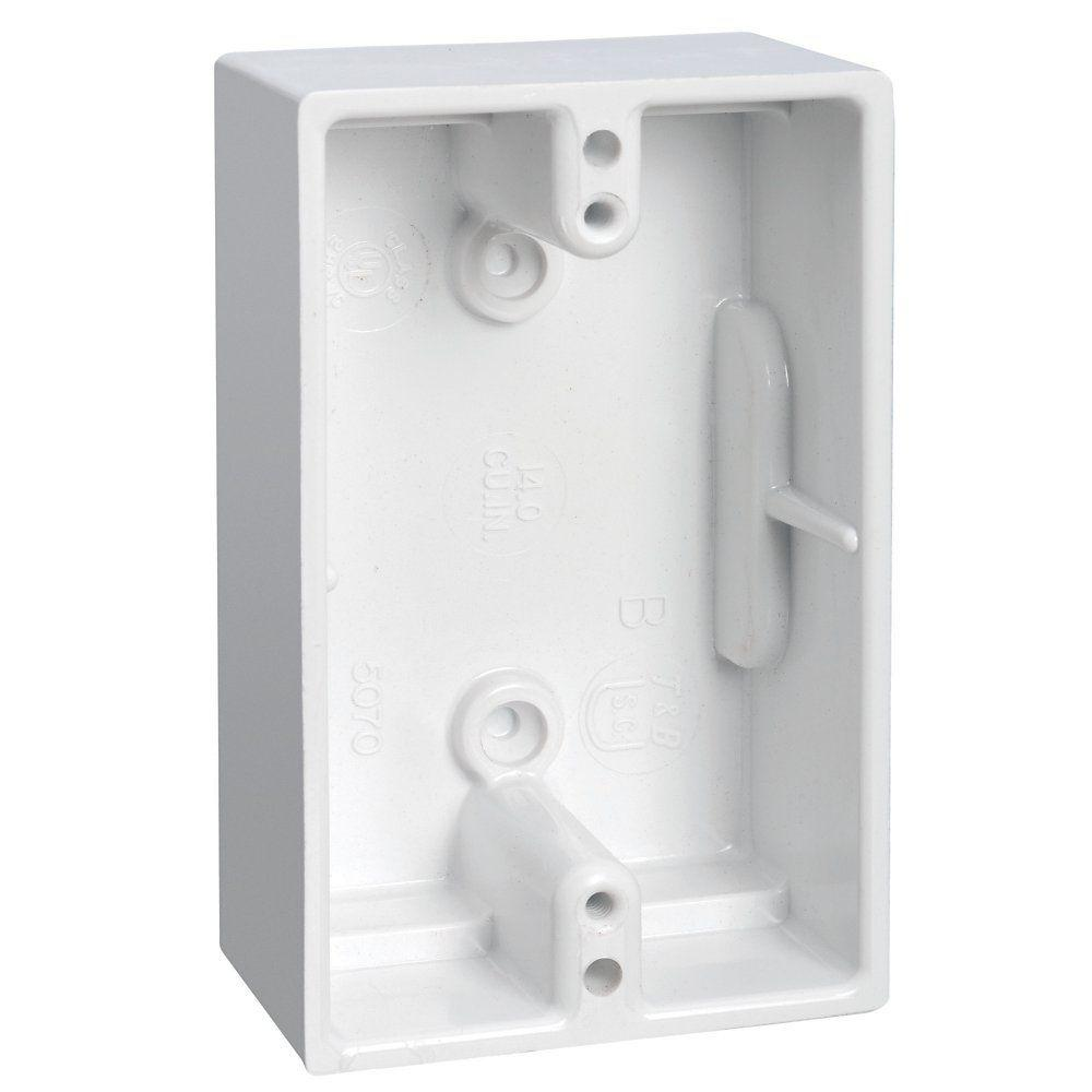 Carlon 1 Gang 14 Cu In Old Work White Phenolic Surface Mount Electrical Box 5070 White The Home Depot