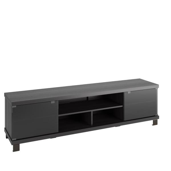 Corliving Holland 71 In Black Ravenwood Tv Stand Fits Tvs Up To 80 In With Storage Doors Thc 702 B The Home Depot