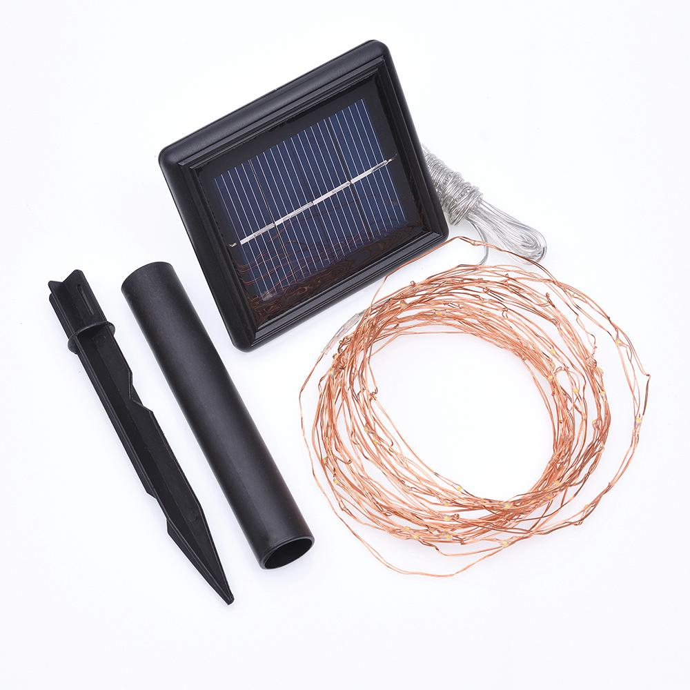 Solar 75-Light 25 ft. Integrated LED Copper Wire String Light