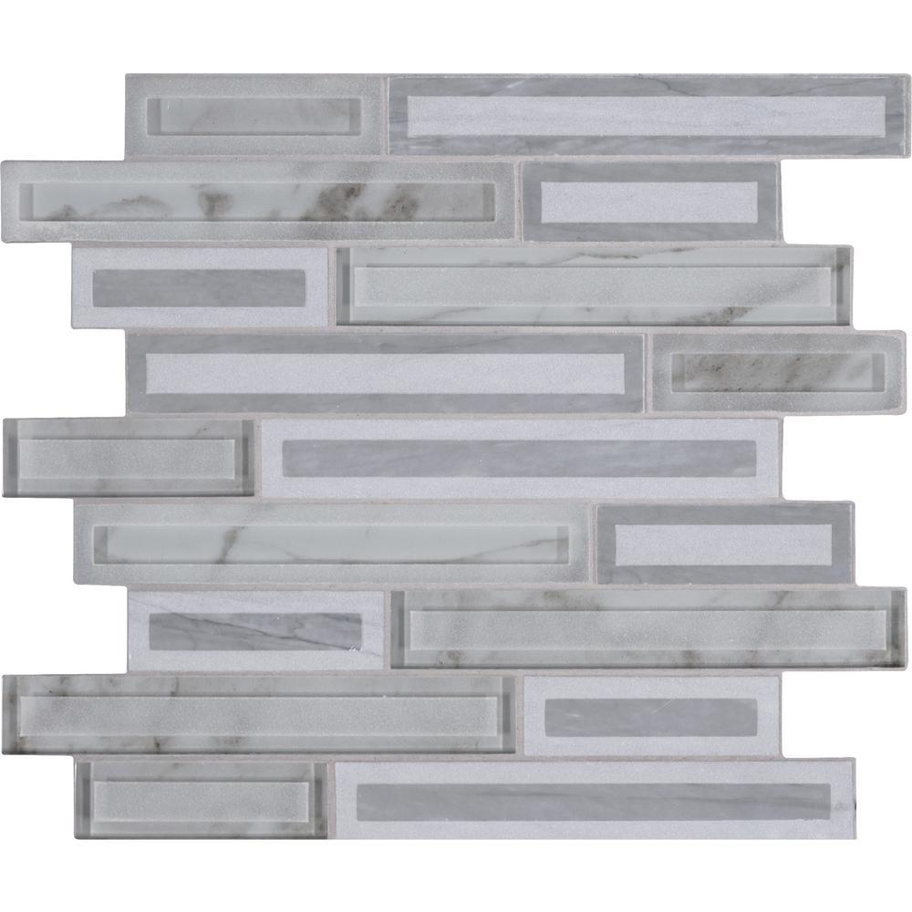 MSI Blocki Grigio Interlocking 12.2 in. x 11.61 in. x 8mm Stone Glass Mesh-Mounted Mosaic Tile