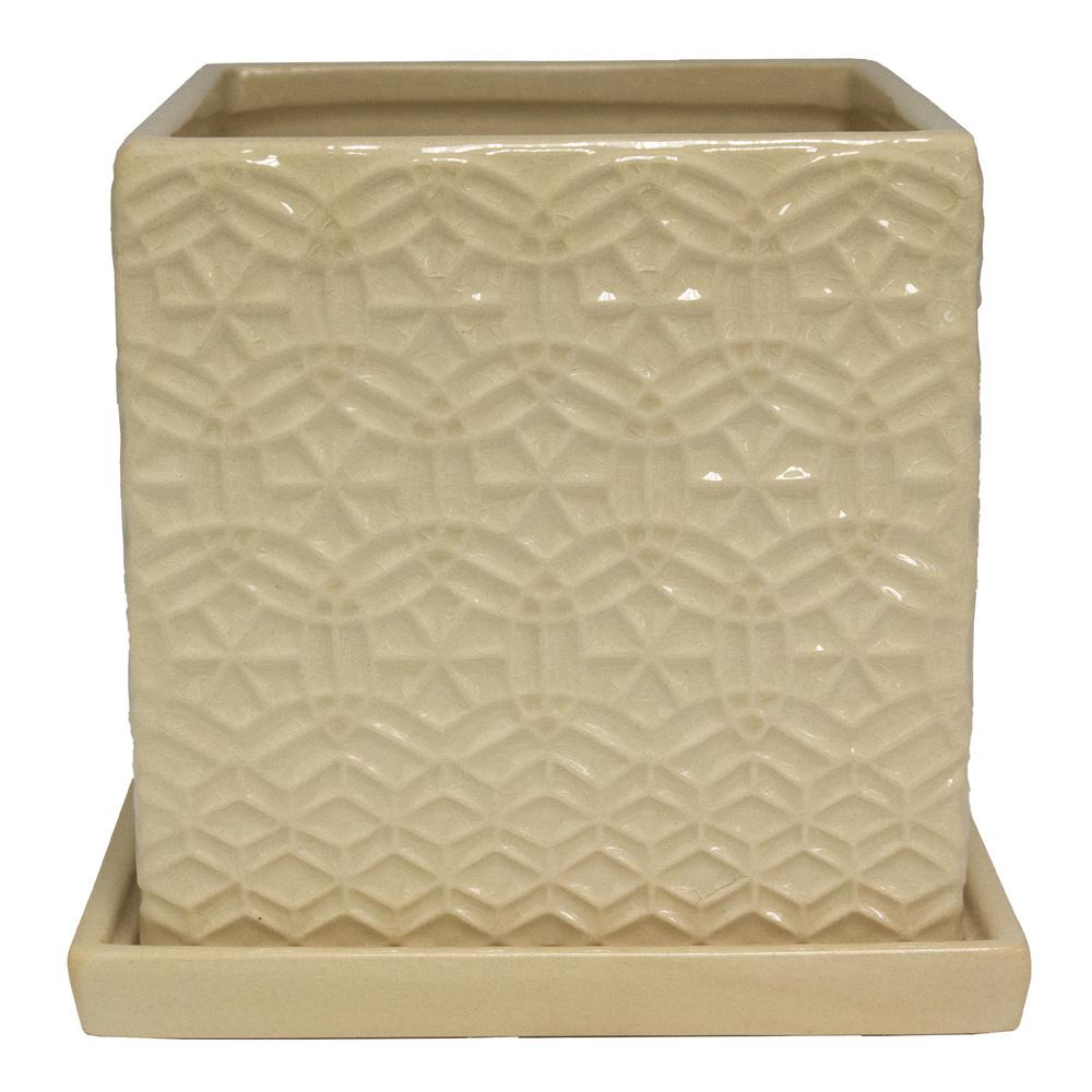 Trendspot 6 in. Cream Rivage Square Ceramic Planter