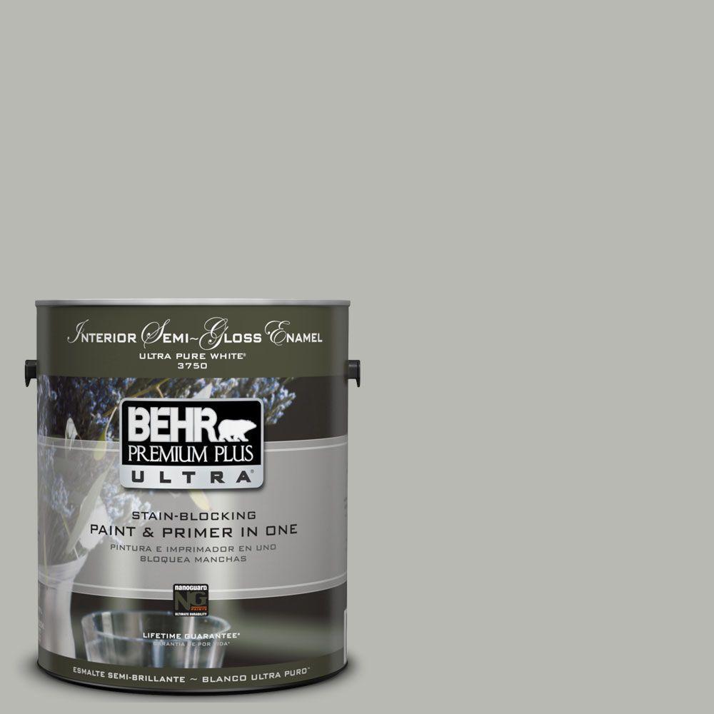 BEHR Premium Plus Ultra 1-gal. #UL260-18 Classic Silver Interior Semi-Gloss Enamel Paint