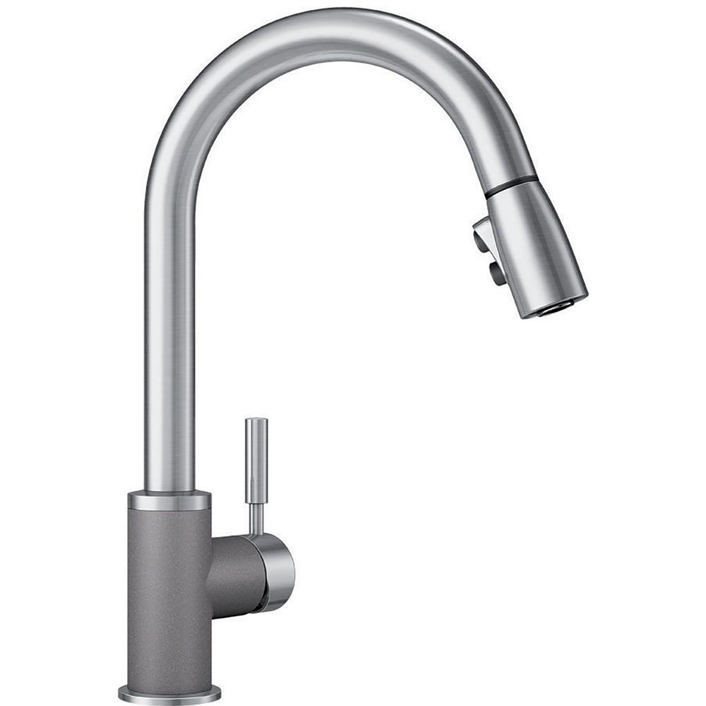 Blanco Sonoma Single-Handle Pull-Down Sprayer Kitchen Faucet in Metallic  Gray/Stainless