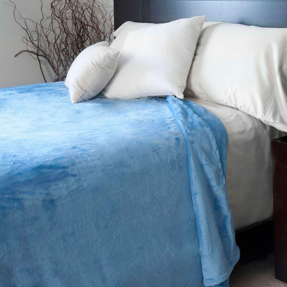 null Blue Polyester Flannel King Blanket
