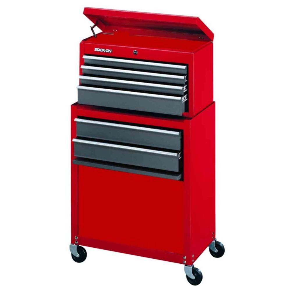 6 Drawer Tool Chest And Cabinet Combo, Red