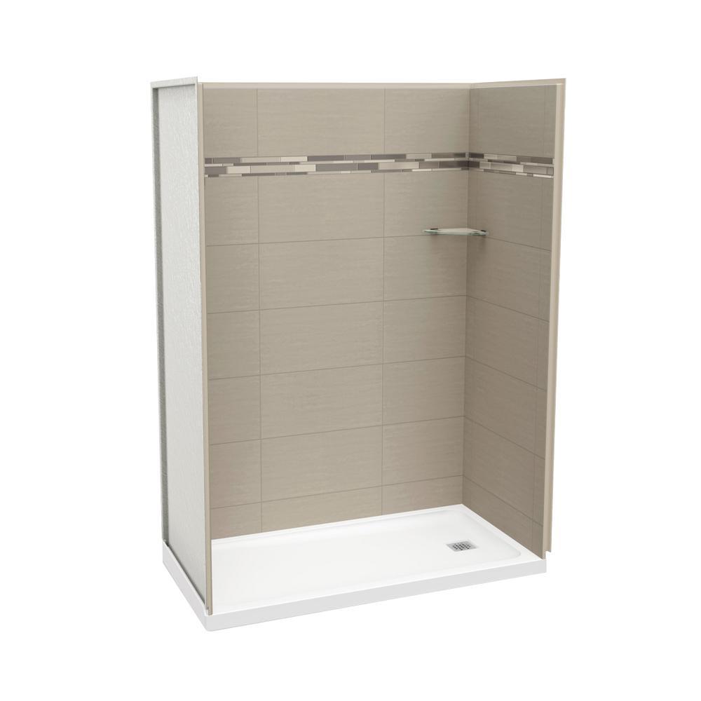 Utile Origin 32 in. x 60 in. x 83.5 in. Alcove Shower Stall in Greige with Right Drain Base in White