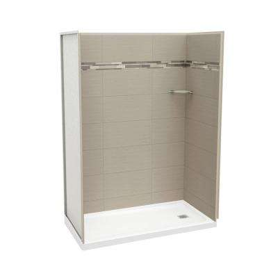 Utile Origin 32 in. x 60 in. x 83.5 in. Alcove Shower Stall in Greige with Right Drain Base in White