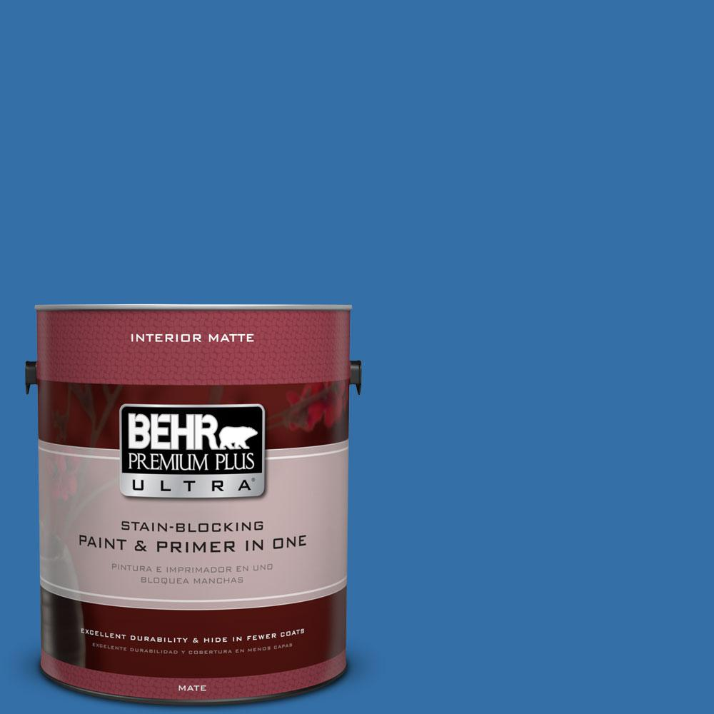 1 gal. #P520-6 Mega Blue Matte Interior Paint