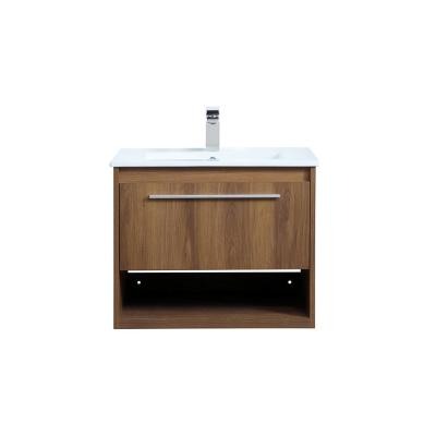 Timeless Home 24 in. W x 18.31 in. D x 19.69 in. H Single Bathroom Vanity in Walnut Brown with Porcelain