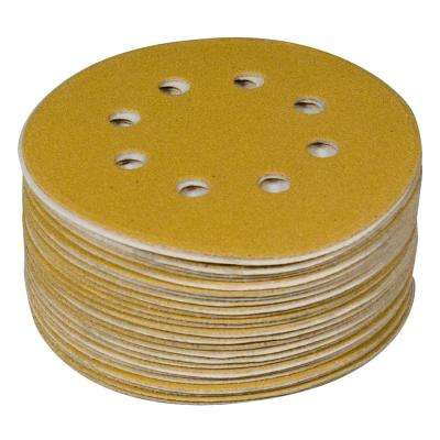 5 in. 8-Hole 220-Grit Hook and Loop Sanding Discs in Gold (50-Pack)