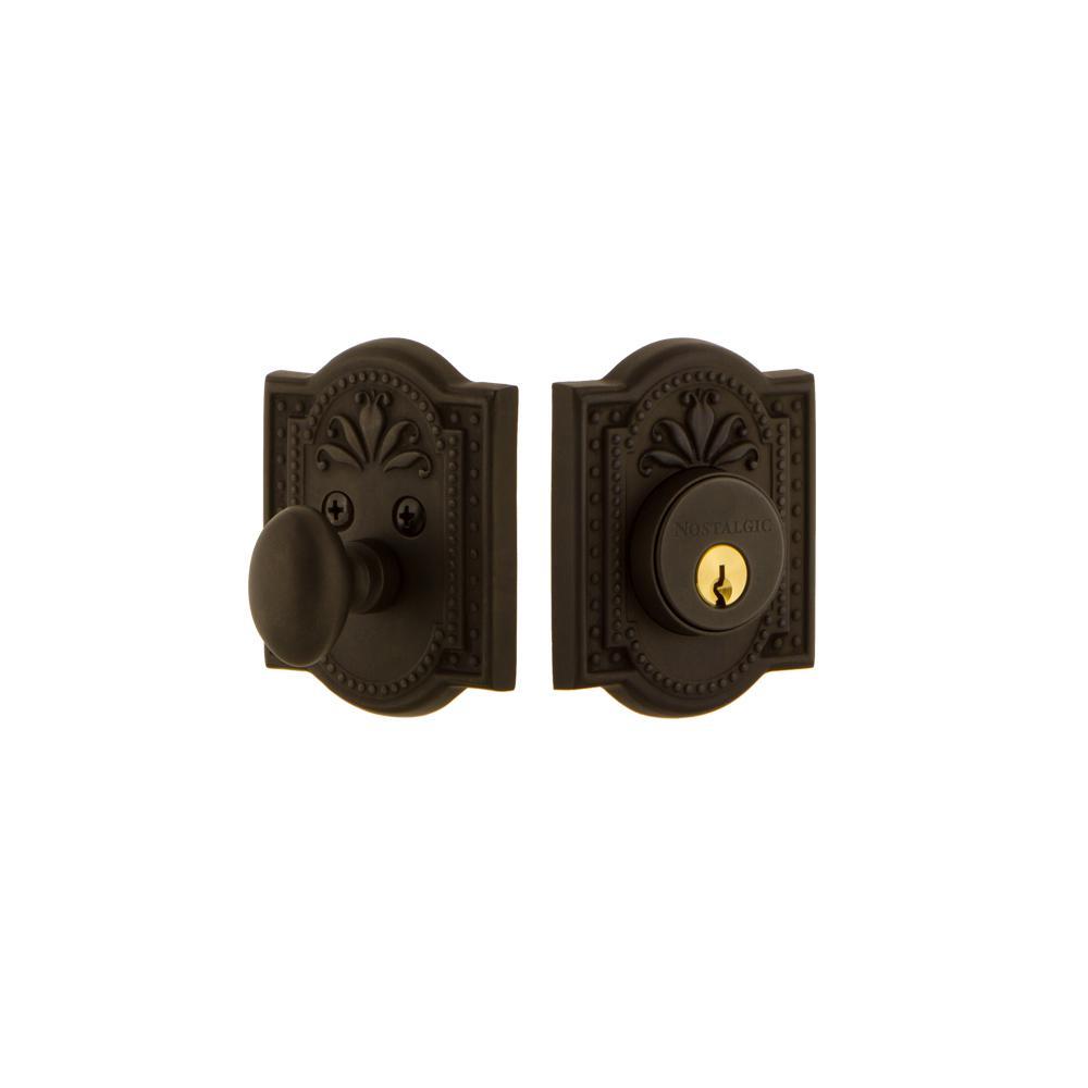 Meadows Plate 2-3/8 in. Backset Single Cylinder Deadbolt in Oil-Rubbed Bronze