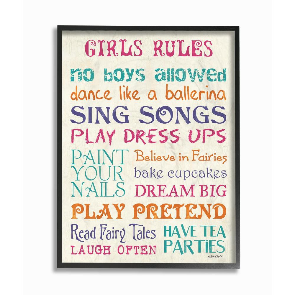 """11 in. x 14 in. """"Pink Teal Orange and Purple Girls Rules"""" by Debbie DeWitt Printed Framed Wall Art"""