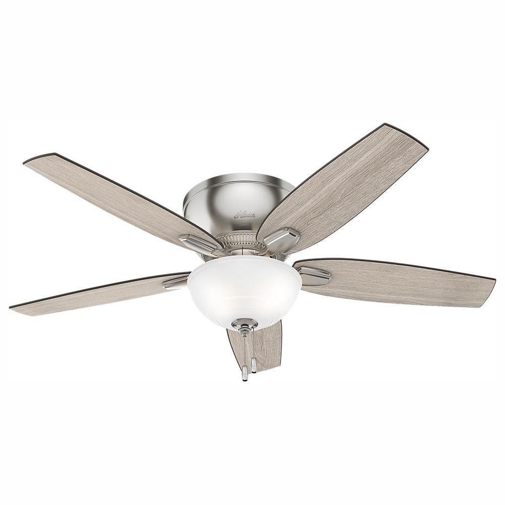 Hunter Oberlin 52 in. LED Indoor Brushed Nickel Ceiling Fan