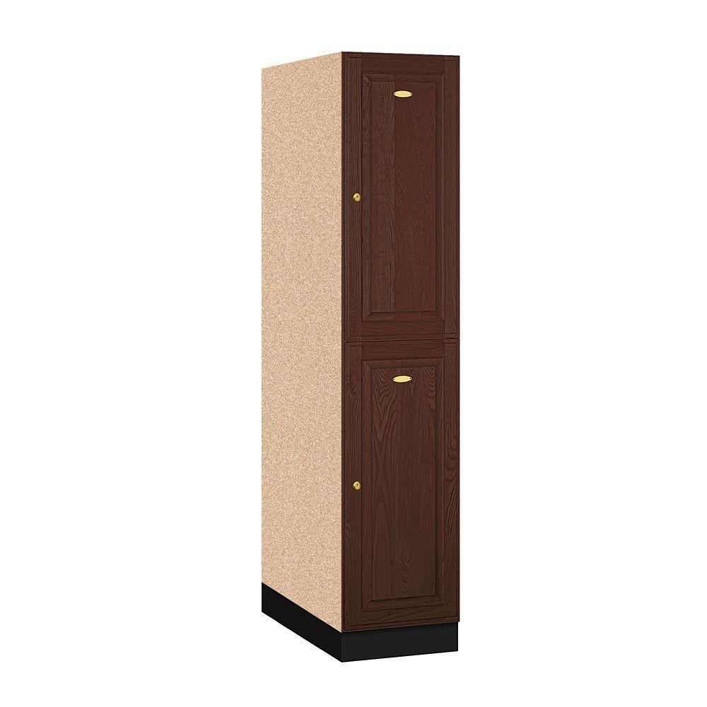 12000 Series 2-Tier Solid Oak Executive Wood Locker in Dark Oak - 16 in. W x 72 in. H x 24 in. D