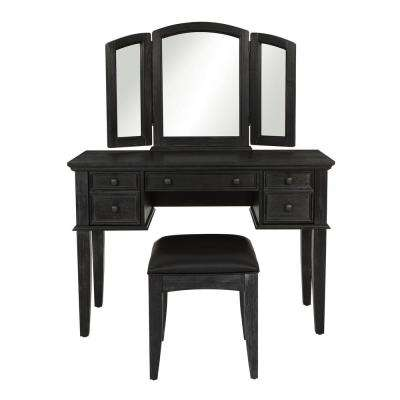 Farmhouse 3-Piece Rustic Black Wood Basics Vanity with Mirror and Bench