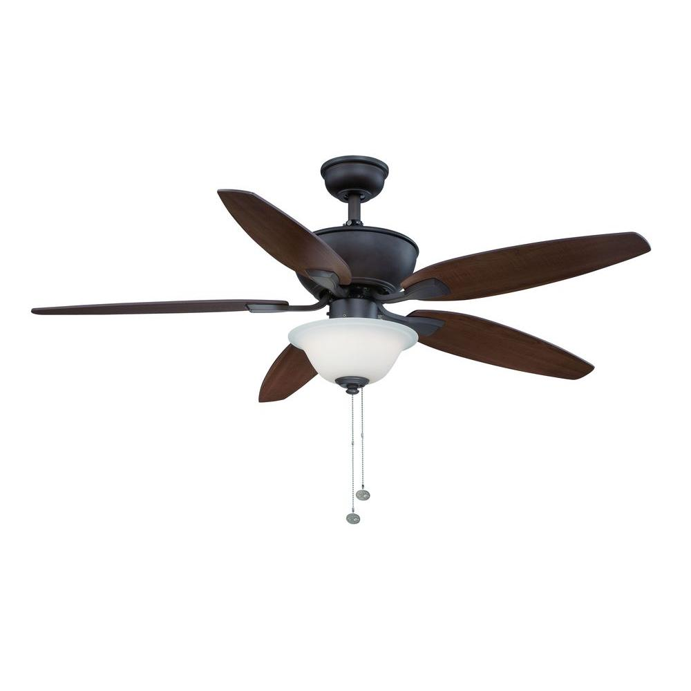 Hampton Bay Carrolton II  52 in. LED Indoor Oil-Rubbed Bronze Ceiling Fan with Light Kit