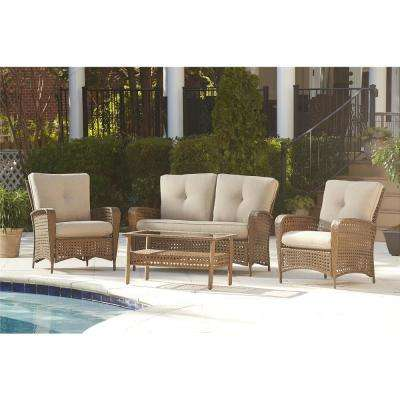 Lakewood Ranch 4-Piece Steel Woven Patio Conversation Set with Tan Cushions