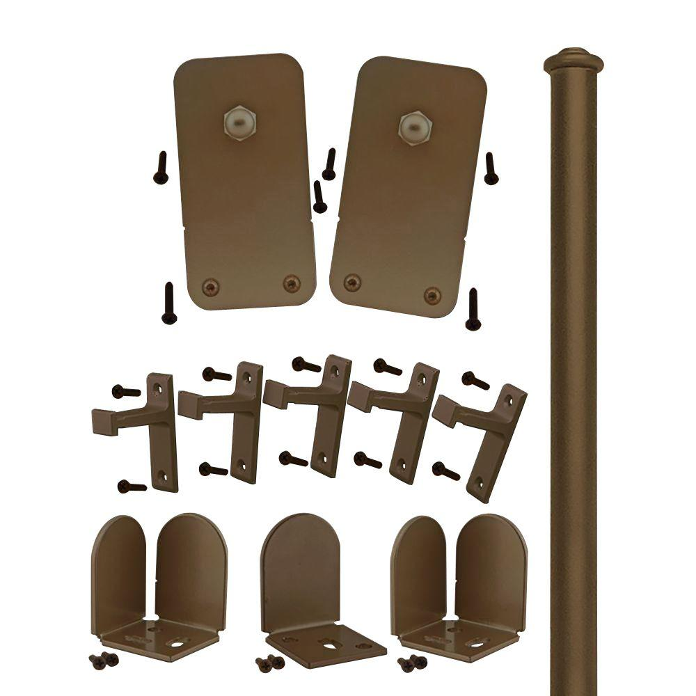 Quiet Glide 1-1/2 in. - 2-1/4 in. Basic Rectangle Oil Rubbed Bronze Rolling Door Hardware Kit