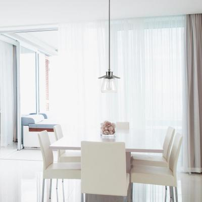 Nate 1-Light Brushed Steel Pendant with Clear Glass Shade