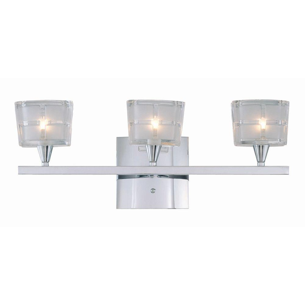 Illumine 3 Light Chrome Lamp Vanity Light With Sand Blasted Glass Cli Ls442677 The Home Depot