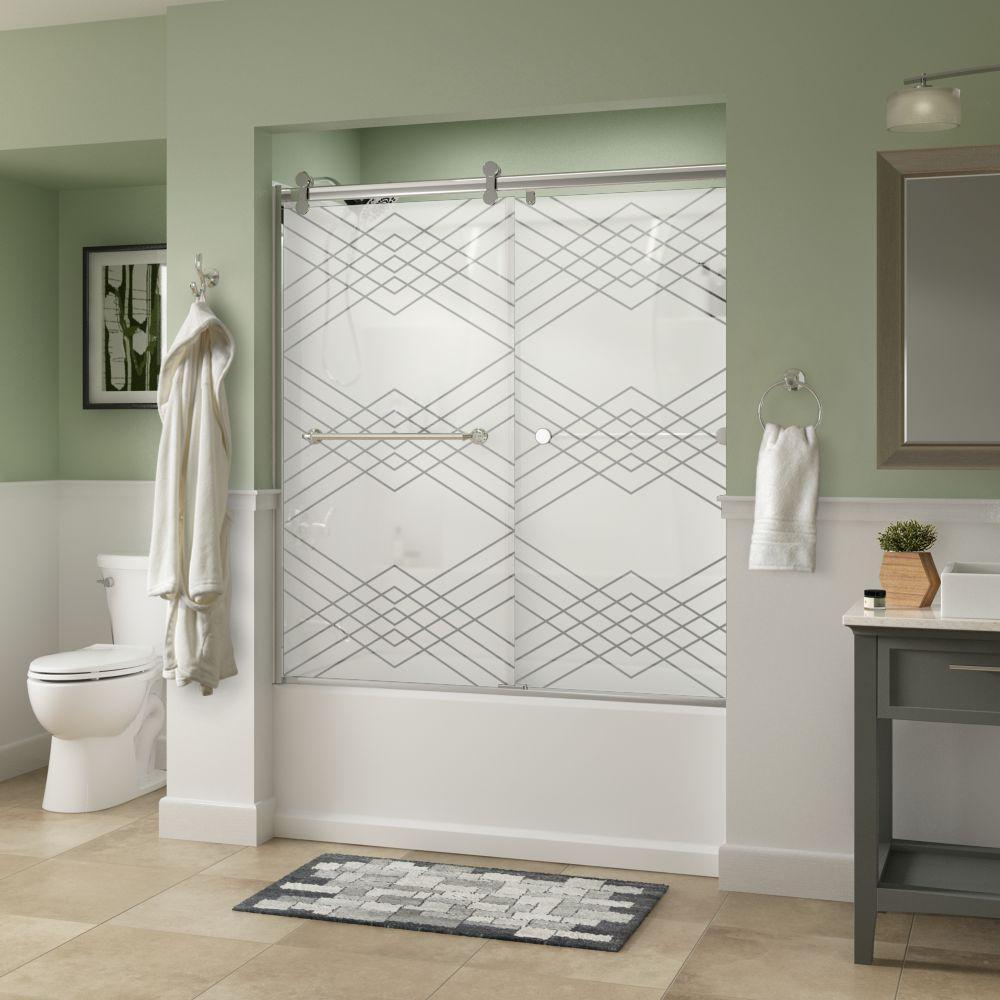 Mandara 60 in. x 58-3/4 in. Semi-Frameless Contemporary Sliding Bathtub Door